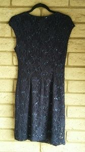 Lauren Ralph Lauren Dresses - Lauren Sequin Dress Navy Laced Surplice